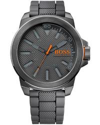 Boss Orange Gray Silicone Strap Watch 50mm 1513005