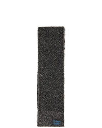 Raf Simons Black And Off White Wool Striped Long Slim Scarf