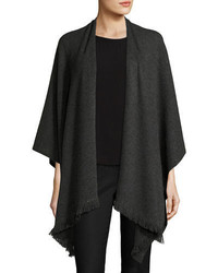 Neiman Marcus Cashmere Collection Fringed Cashmere Shawl W Chain Detail