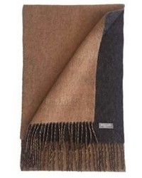 James Cavolini Italy Cashmere Wool Double Sided Camel Charcoal Scarf