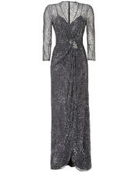 Charcoal Sequin Evening Dress