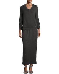 Brunello Cucinelli Sequined Cashmere Silk Blend Maxi Dress