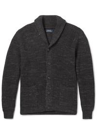 Shawl collar mlange ribbed cotton cardigan medium 6874067