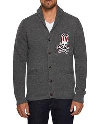 Psycho Bunny Shawl Neck Wool Cardigan