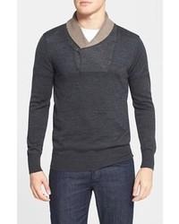 Charcoal Shawl-Neck Sweater