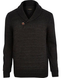 River Island Grey Shawl Neck Knitted Sweater