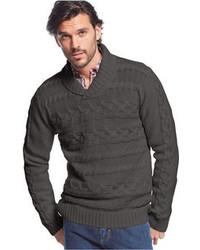 Weatherproof Vintage Chunky Shawl Collar Horizontal Cable Sweater