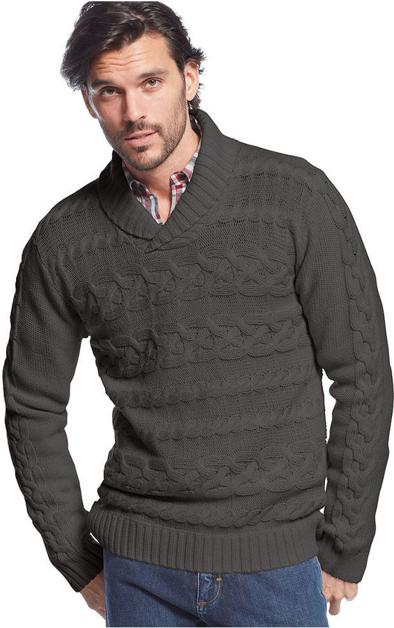 98d460f8904358 ... Weatherproof Vintage Chunky Shawl Collar Horizontal Cable Sweater