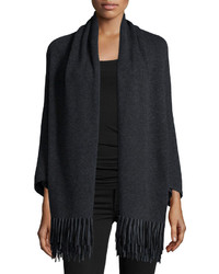 Neiman Marcus Cashmere Collection Cashmere Shawl With Suede Fringe Hem