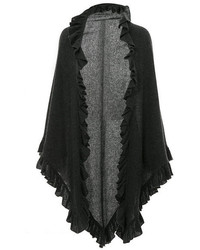 Minnie Rose Cashmere Ruffle Shawl In Charcoal