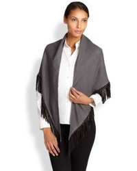 Bajra Leather Fringe Cashmere Silk Shawl