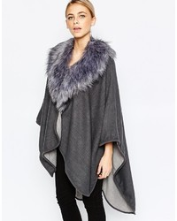 Oasis Reversible Cape With Faux Fur Collar