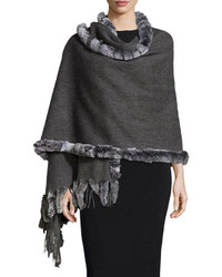 Neiman Marcus Wool Wrap W Rabbit Fur Trim Charcoal