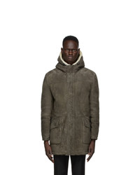 Yves Salomon Grey Suede Coat
