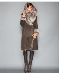 Toscana shearling hooded wrap coat medium 144267