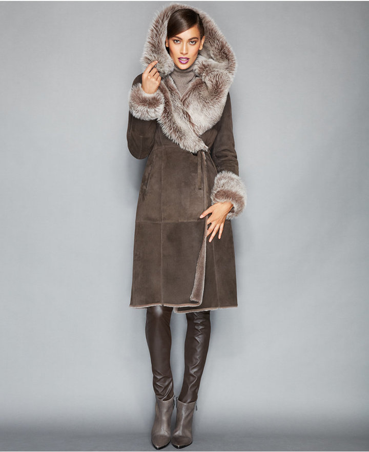 The Fur Vault Toscana Shearling Hooded Wrap Coat | Where to buy ...