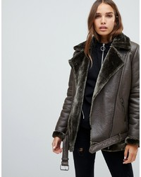 Only Faux Leather Shearling Jacket