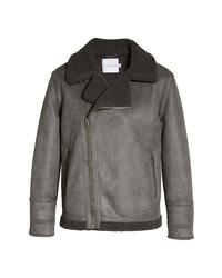 Topman Logan Faux Shearling Biker Jacket