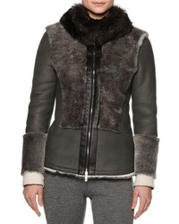 Callens Zip Front Two Tone Shearling Fur Jacket Gray