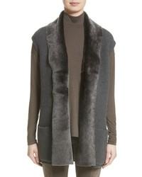 Lafayette 148 New York Merino Cashmere Vest With Genuine Shearling Trim
