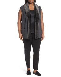 Lafayette 148 New York Plus Size Merino Blend Vest With Genuine Shearling Trim