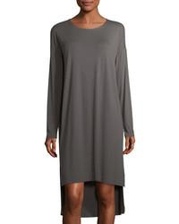 Eileen Fisher Long Sleeve Lightweight Viscose Jersey Shift Dress Petite