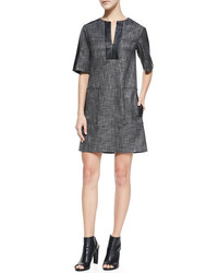 Nanette Lepore Short Sleeve Leather Bound Shift Dress