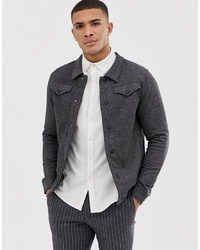 Jack & Jones Premium Knitted Overshirt With Chest Pockets