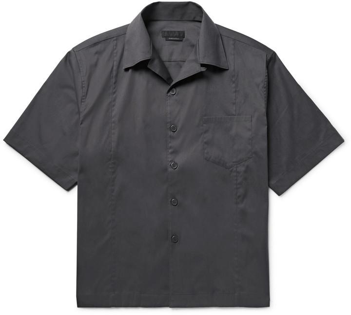 ad9d002d $600, Prada Camp Collar Stretch Cotton Blend Poplin Shirt