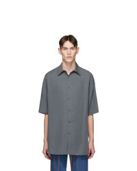 Valentino Grey Lyocell Short Sleeve Shirt