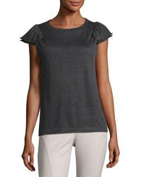 Ruched sleeve cashmere sweater dark gray medium 3733715