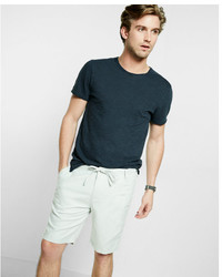 Express Classic Fit 10 Inch Roll Cuff Linen Cotton Drawstring Shorts