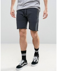 Asos Jersey Shorts With Gold Zips In Charcoal Marl
