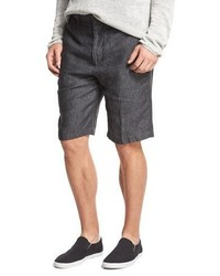 Vince Relaxed Fit Linen Shorts Gray