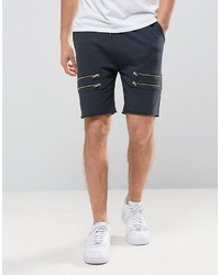 Asos Skinny Jersey Shorts With Gold Zips In Gray