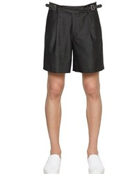 Emporio Armani Wool Cotton Blend Satin Shorts