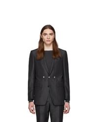 Burberry Grey Silk Linen Tailored Blazer