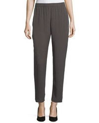 Eileen Fisher Slouchy Silk Georgette Ankle Pants Plus Size
