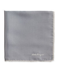 Salvatore Ferragamo Silk Twill Pocket Square Gray