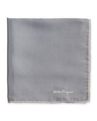Salvatore Ferragamo Silk Twill Pocket Square Gray
