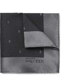 Alexander McQueen Skull Patterned Silk Jacquard Pocket Square