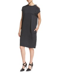 Brunello Cucinelli Cold Shoulder Monili Trim Silk Crepe Shift Dress