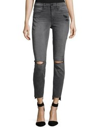 Frame Le High Skinny Raw Stagger Hem Jeans Gray
