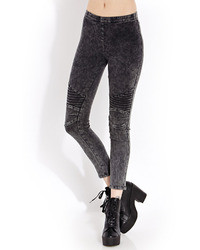 Forever 21 Mineral Wash Moto Jeggings