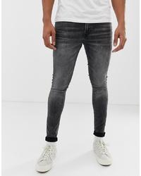 Jack & Jones Skinny Fit Jeans In Washed Black