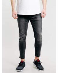 Topman Grey Cropped Stretch Skinny Jeans
