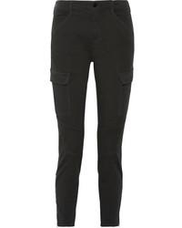 J Brand Houlihan Cropped Cotton Blend Twill Skinny Pants Charcoal