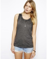Asos Tank In Deconstructed Fabric Grey