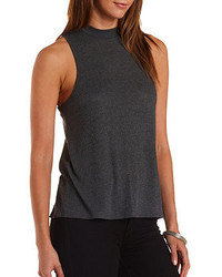 Charlotte russe mock neck racer front top medium 214033