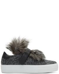 Moncler Grey Fur Victoire Slip On Sneakers